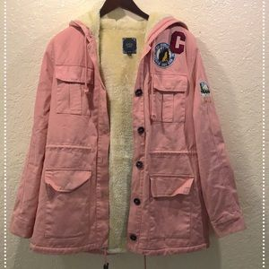 Salmon, pink winter utility coat